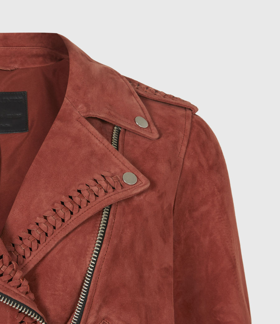 Damen Braided Suede Biker Jacket (arabian_spice_red) - Image 5