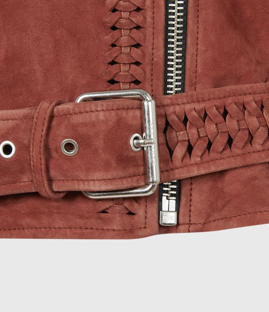 Damen Braided Suede Biker Jacket (arabian_spice_red) - Image 6