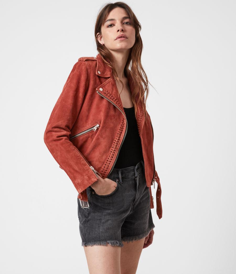 Damen Braided Suede Biker Jacket (arabian_spice_red) - Image 7