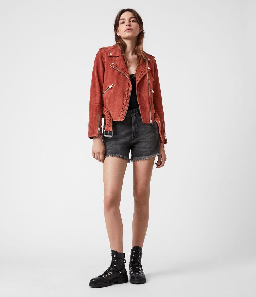 Damen Braided Suede Biker Jacket (arabian_spice_red) - Image 8