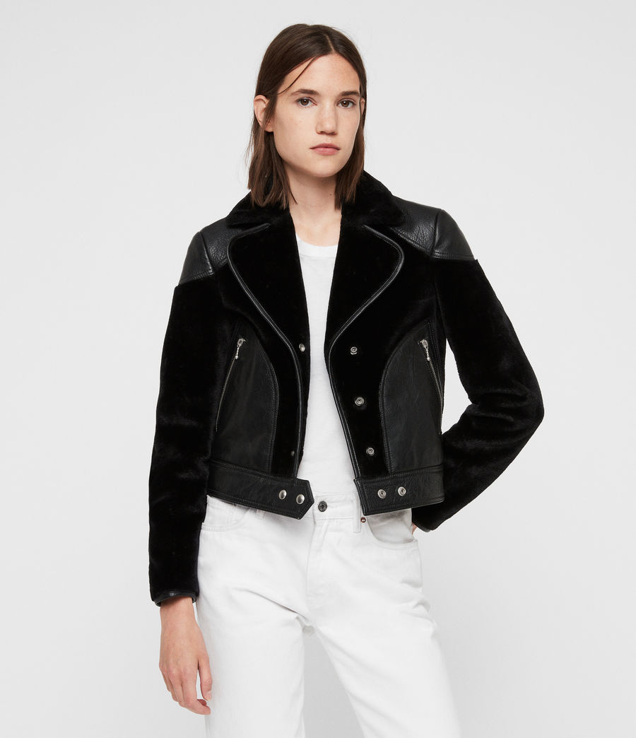 Women's Zola Lux Leather Biker Jacket (black) - Image 1