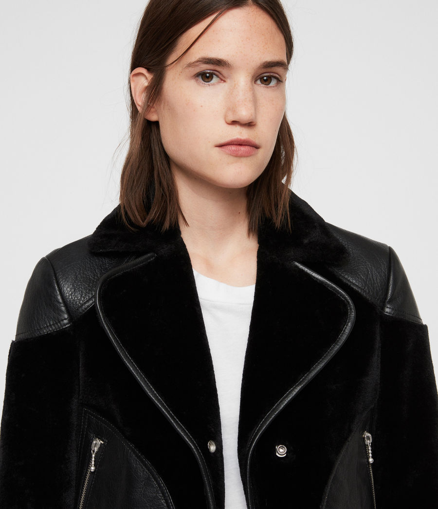 Women's Zola Lux Leather Biker Jacket (black) - Image 3