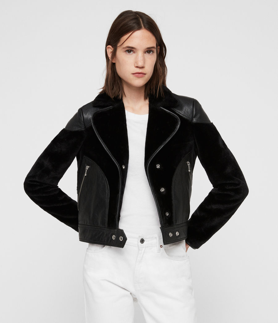 Women's Zola Lux Leather Biker Jacket (black) - Image 4