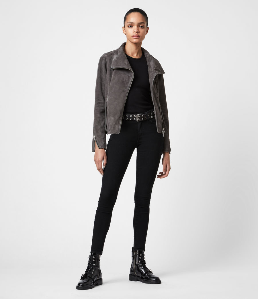 Women's Ellis Suede Biker Jacket (slate_grey) - Image 4