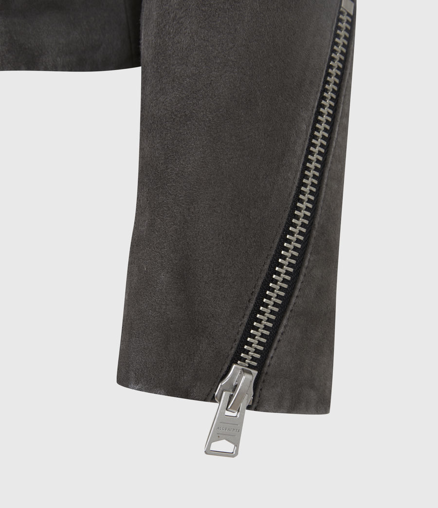Women's Ellis Suede Biker Jacket (slate_grey) - Image 6