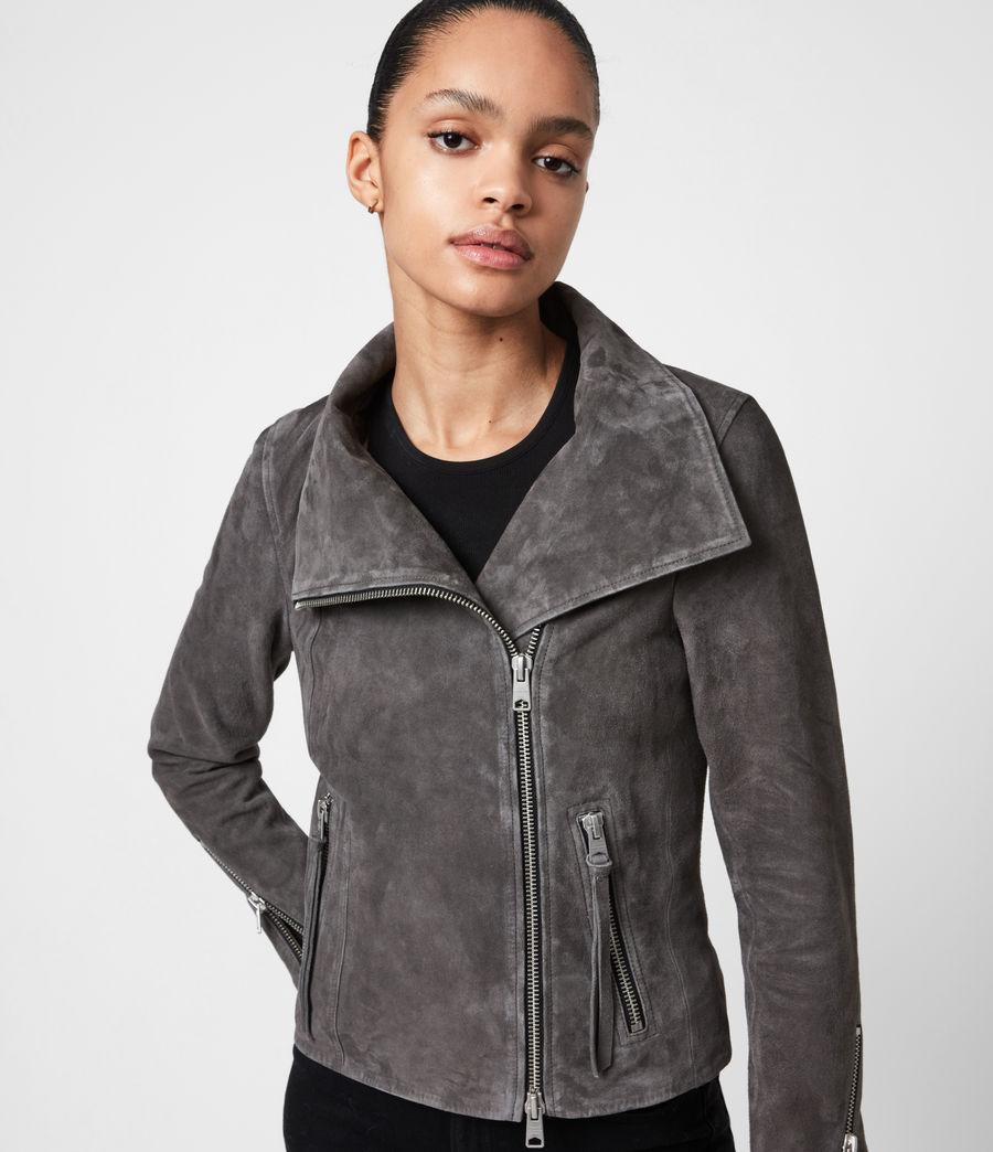 Women's Ellis Suede Biker Jacket (slate_grey) - Image 7