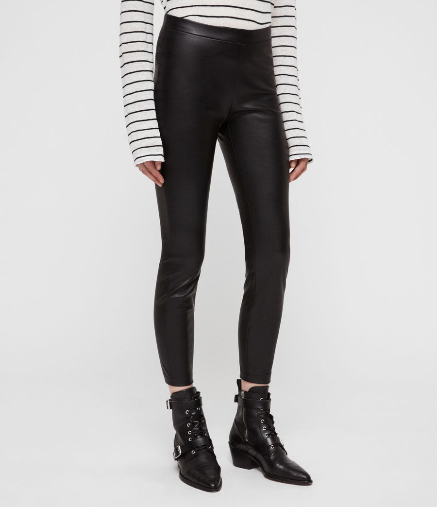Womens Isla Faux Leather Leggings (black) - Image 4