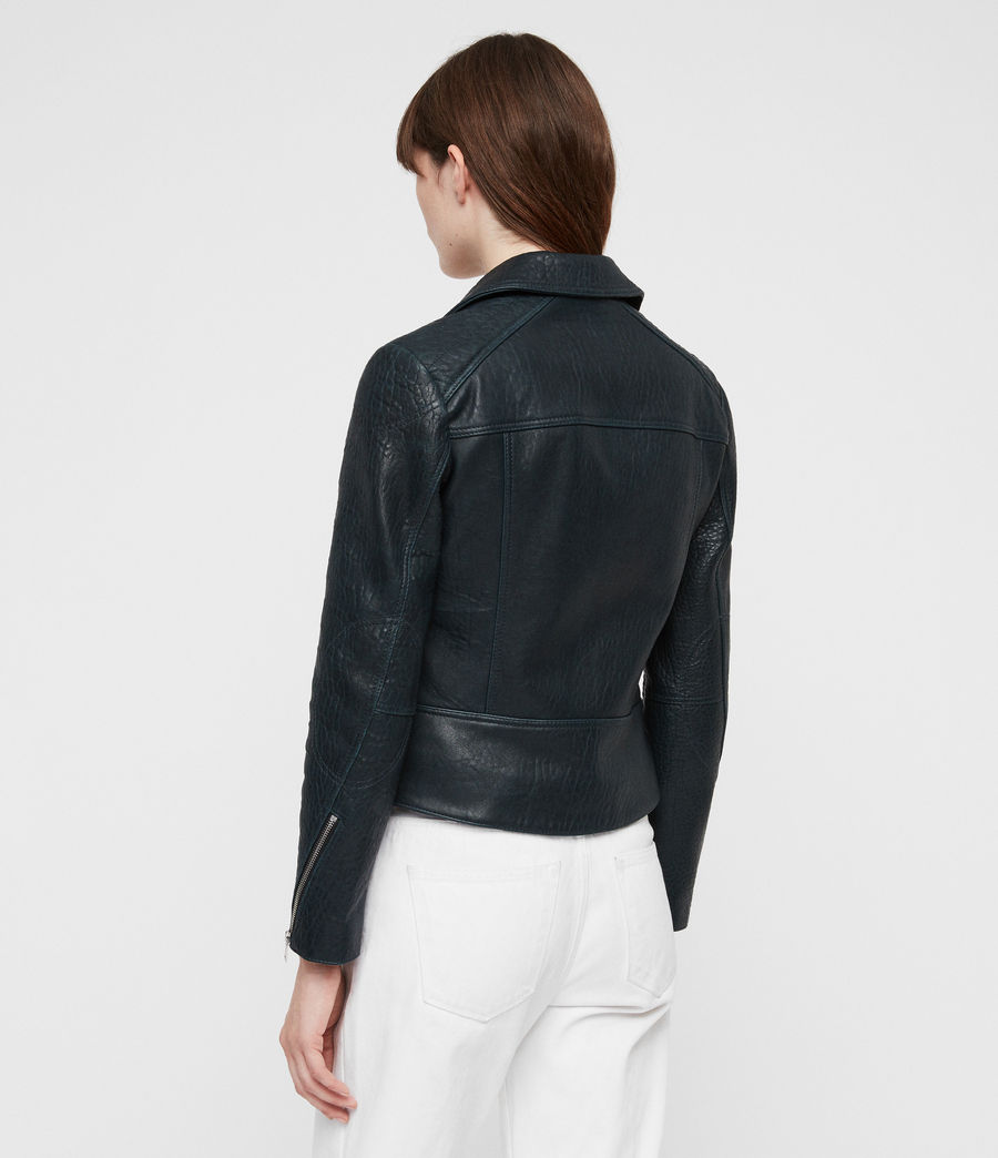 Women's Pataya Leather Biker Jacket (peacock_blue) - Image 5