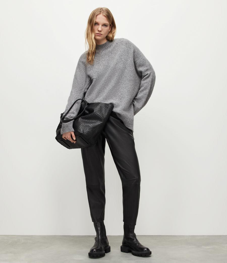 Womens Jen Leather Joggers (black) - Image 1