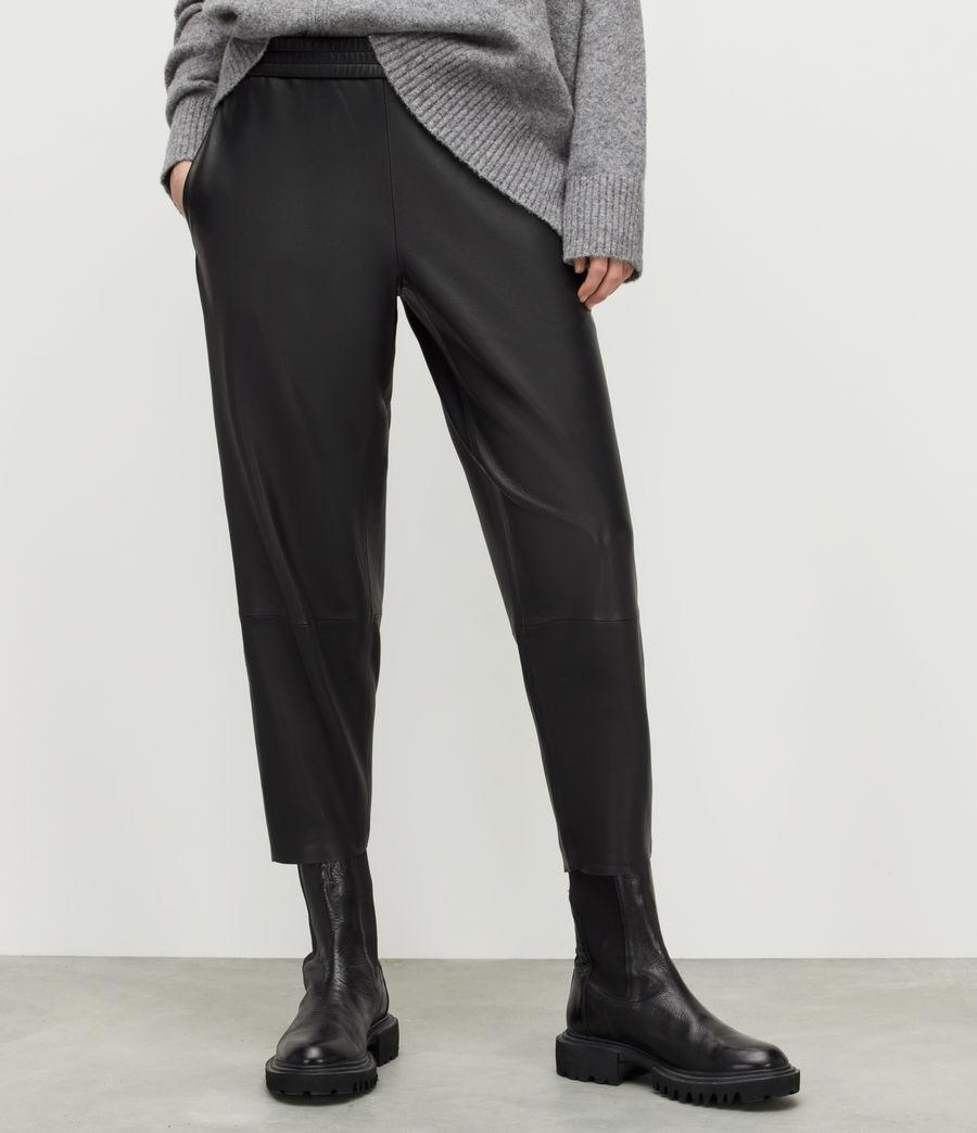 Womens Jen Leather Joggers (black) - Image 2