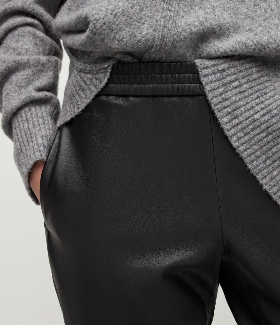 Womens Jen Leather Joggers (black) - Image 4