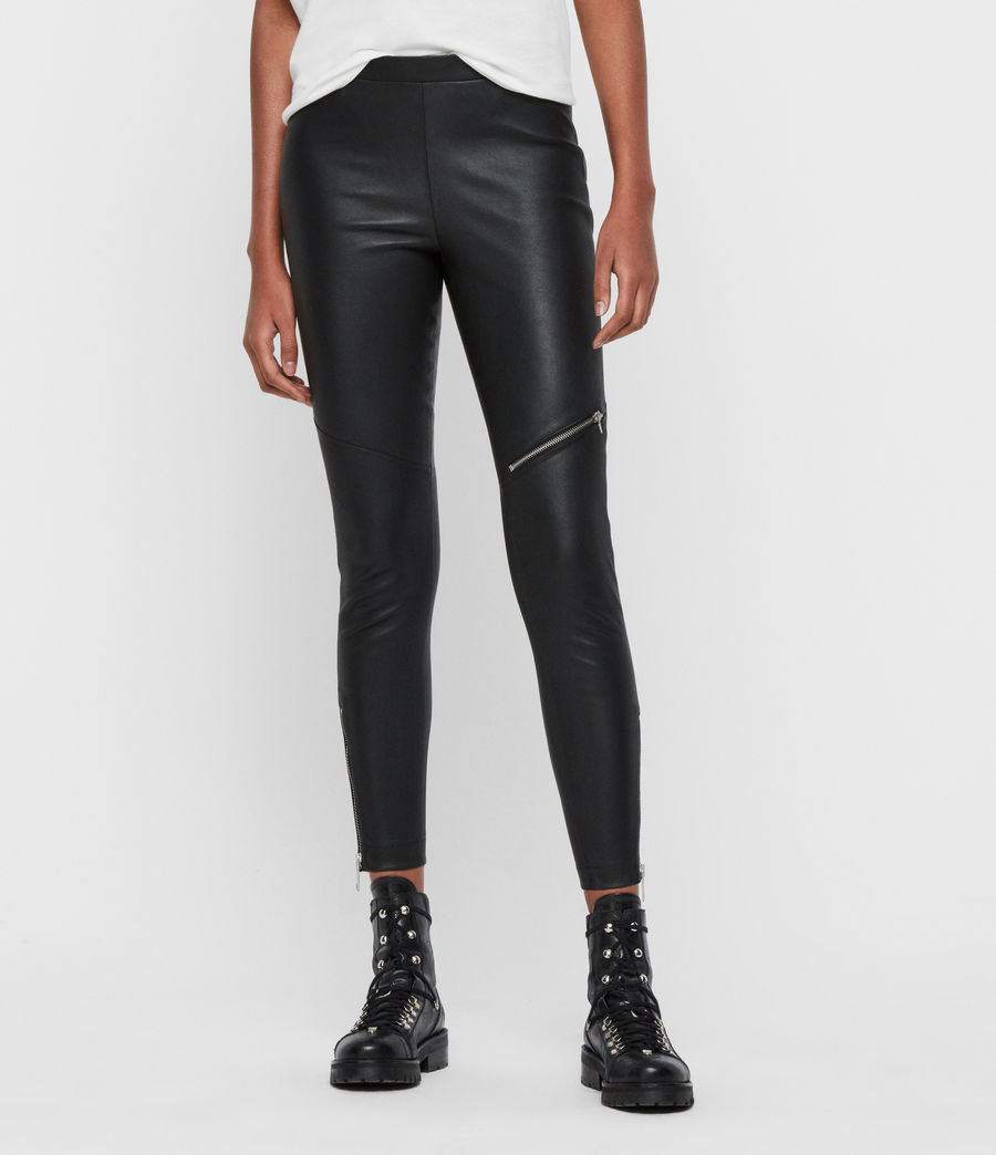 Women's Kriva Leather Leggings (black) - Image 4