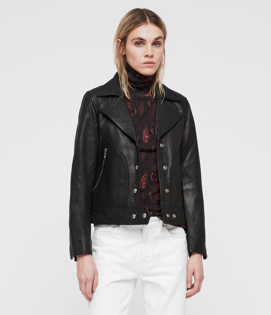 Womens Zola Leather Biker Jacket (black) - Image 1