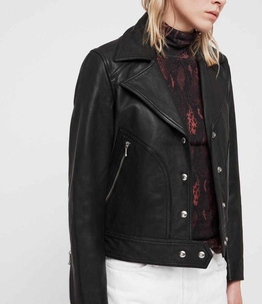 Womens Zola Leather Biker Jacket (black) - Image 2