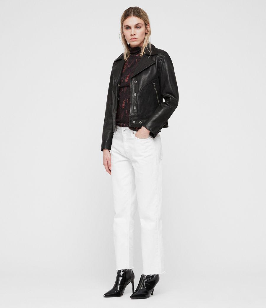 Womens Zola Leather Biker Jacket (black) - Image 3