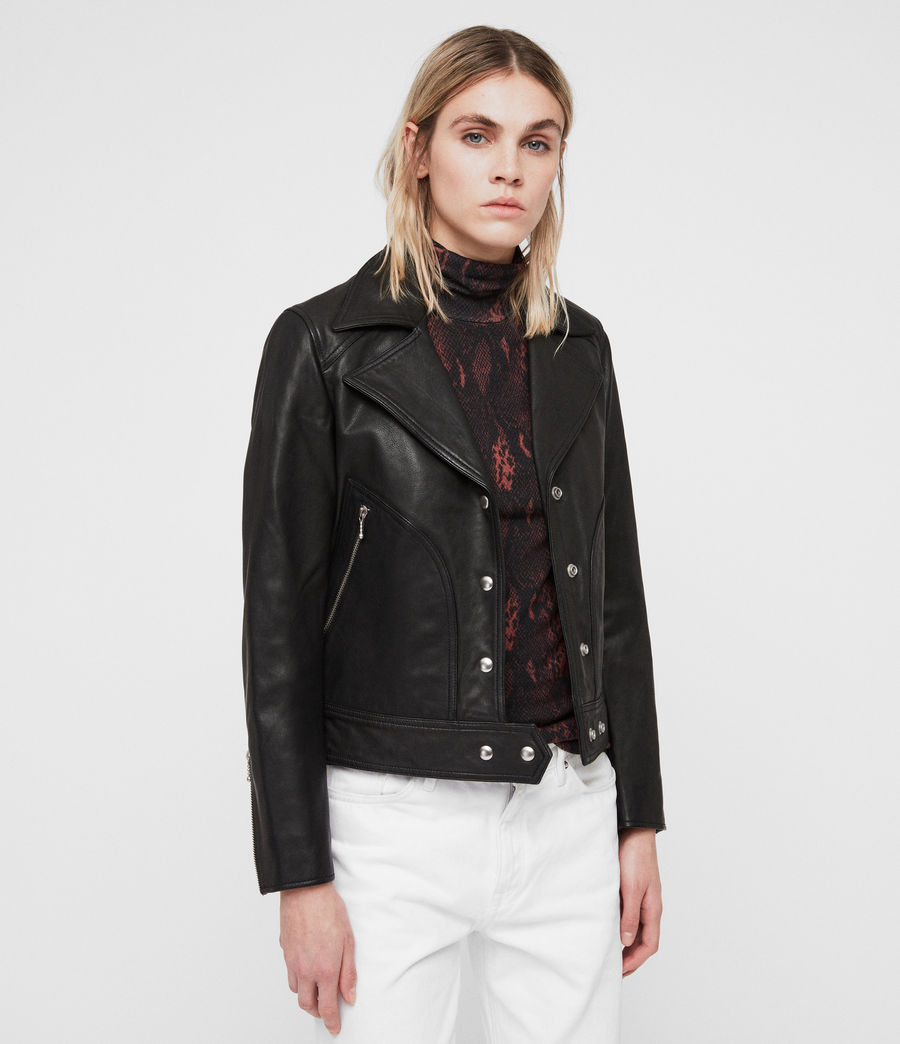 Womens Zola Leather Biker Jacket (black) - Image 4