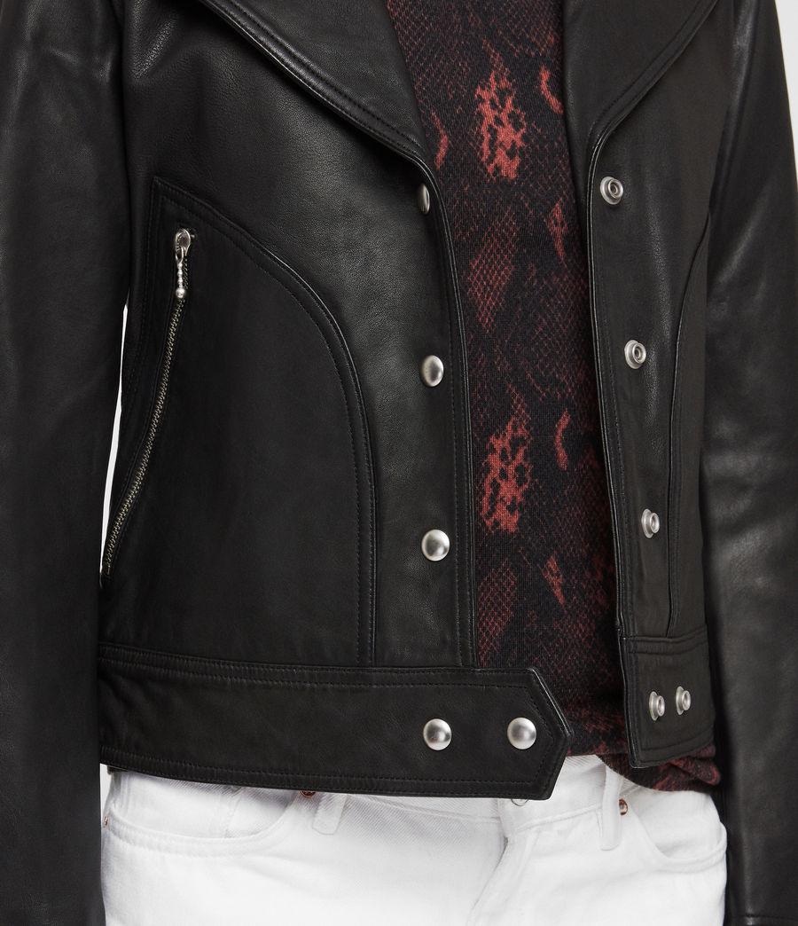 Womens Zola Leather Biker Jacket (black) - Image 5