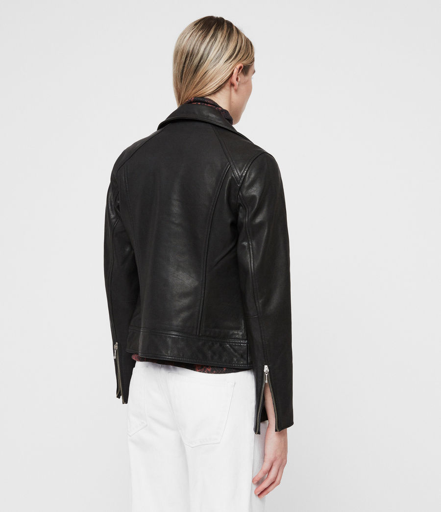 Womens Zola Leather Biker Jacket (black) - Image 6