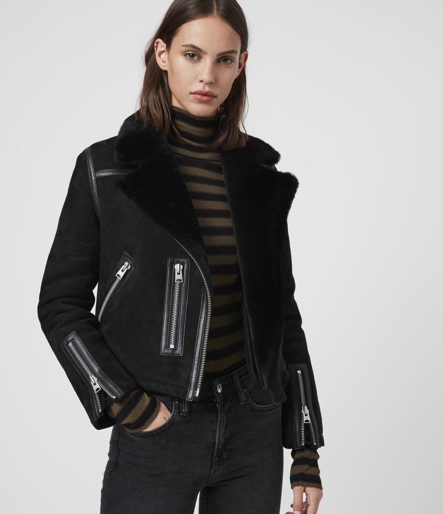 Mujer Willow Shearling Biker Jacket (black) - Image 1