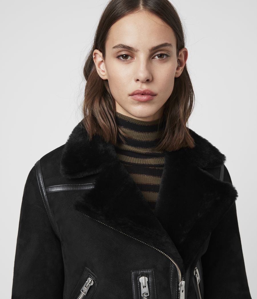 Mujer Willow Shearling Biker Jacket (black) - Image 2