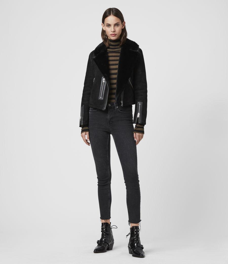 Mujer Willow Shearling Biker Jacket (black) - Image 3
