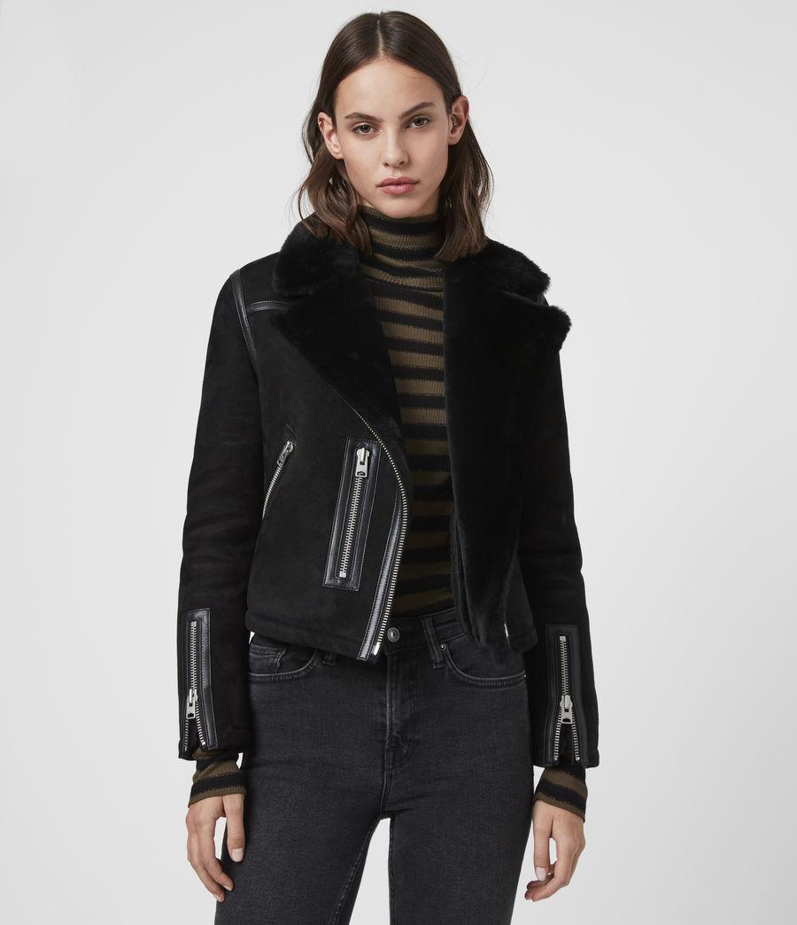 Mujer Willow Shearling Biker Jacket (black) - Image 4