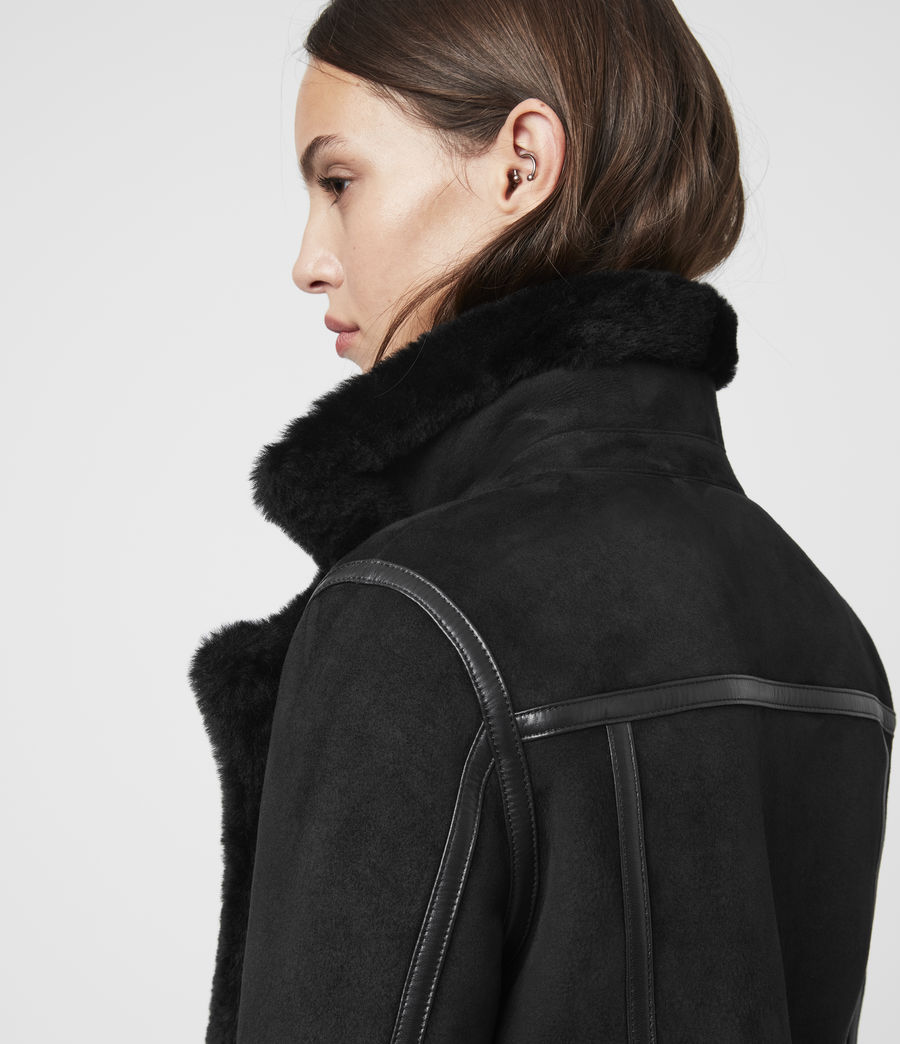 Mujer Willow Shearling Biker Jacket (black) - Image 5