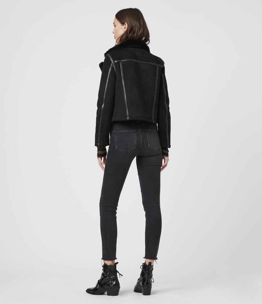 Mujer Willow Shearling Biker Jacket (black) - Image 6