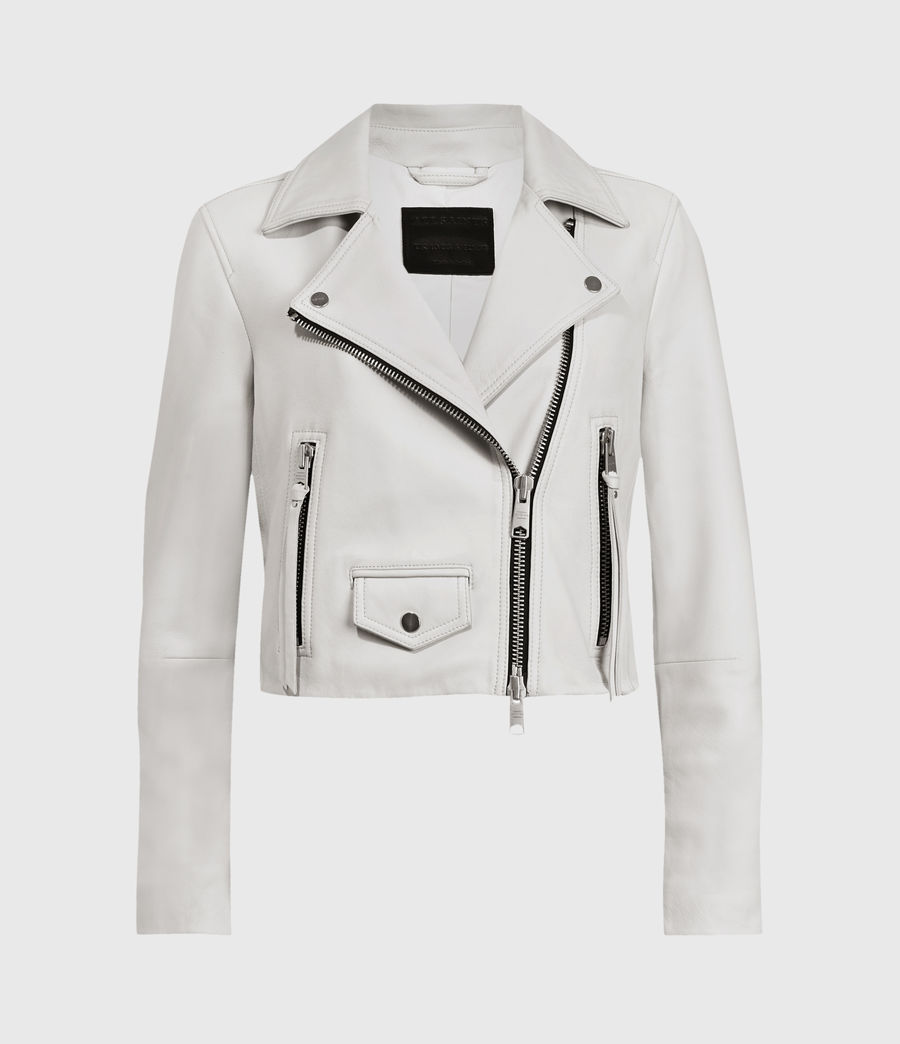 Women's Elora Leather Biker Jacket (off_white) - Image 1