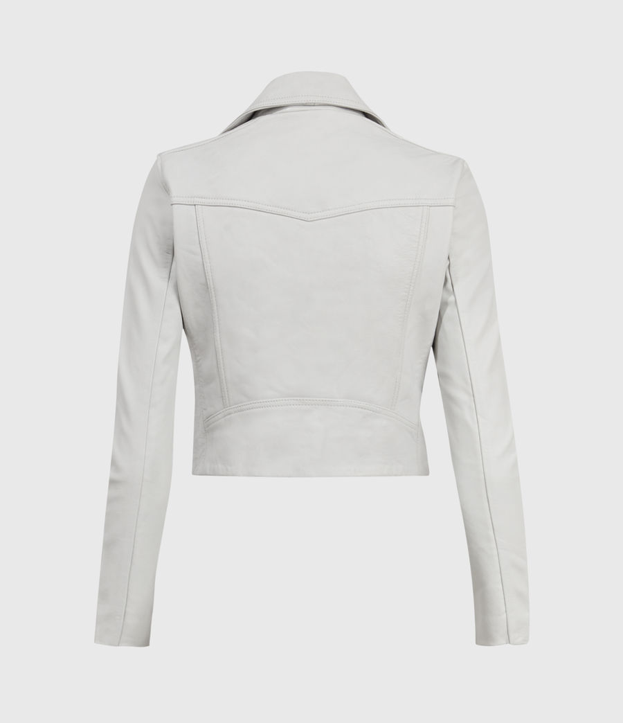 Mujer Elora Leather Biker Jacket (off_white) - Image 2