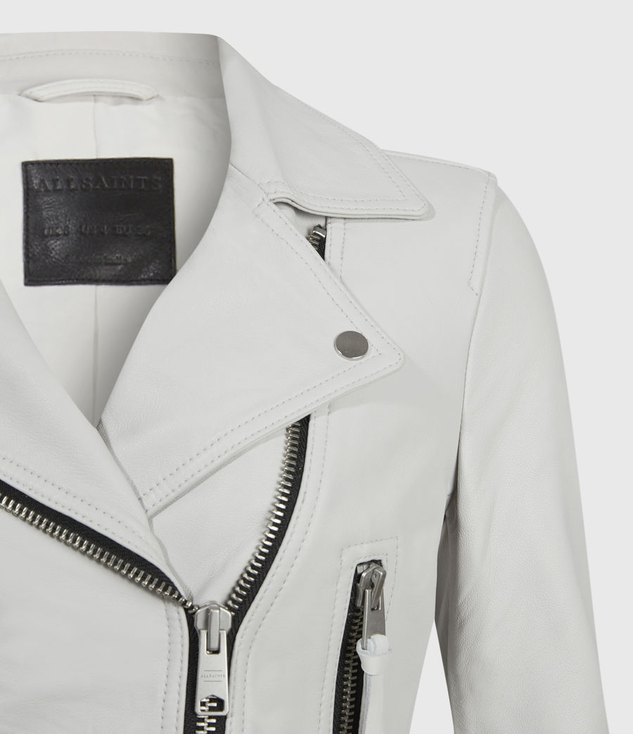 Mujer Elora Leather Biker Jacket (off_white) - Image 3