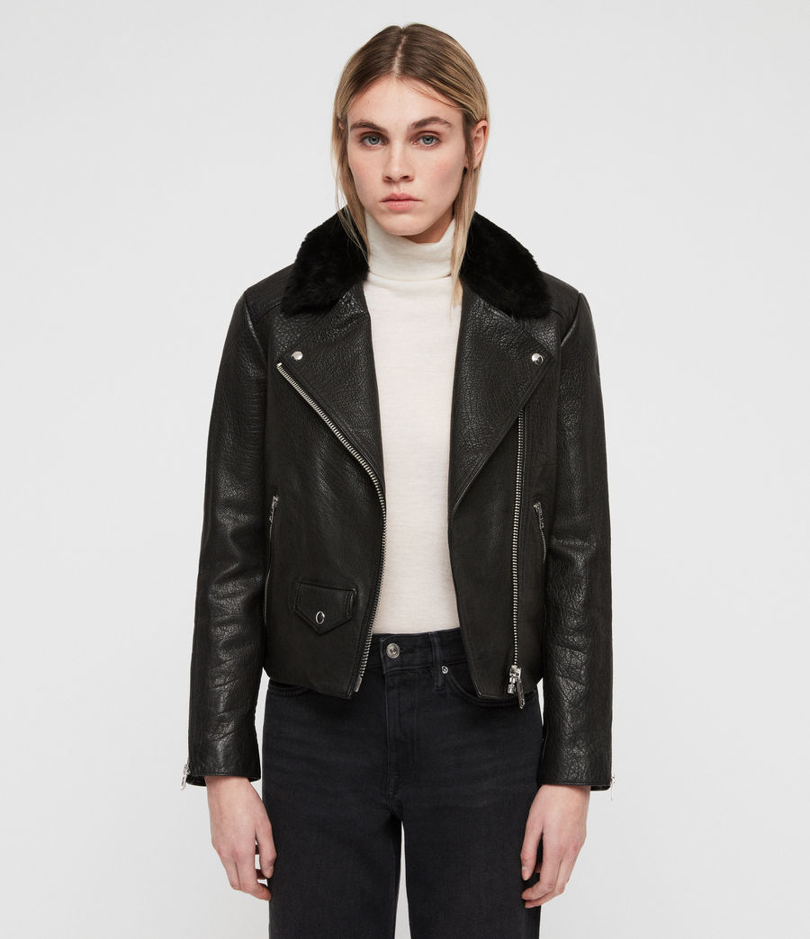Womens Pataya Leather Lux Biker Jacket (black) - Image 1