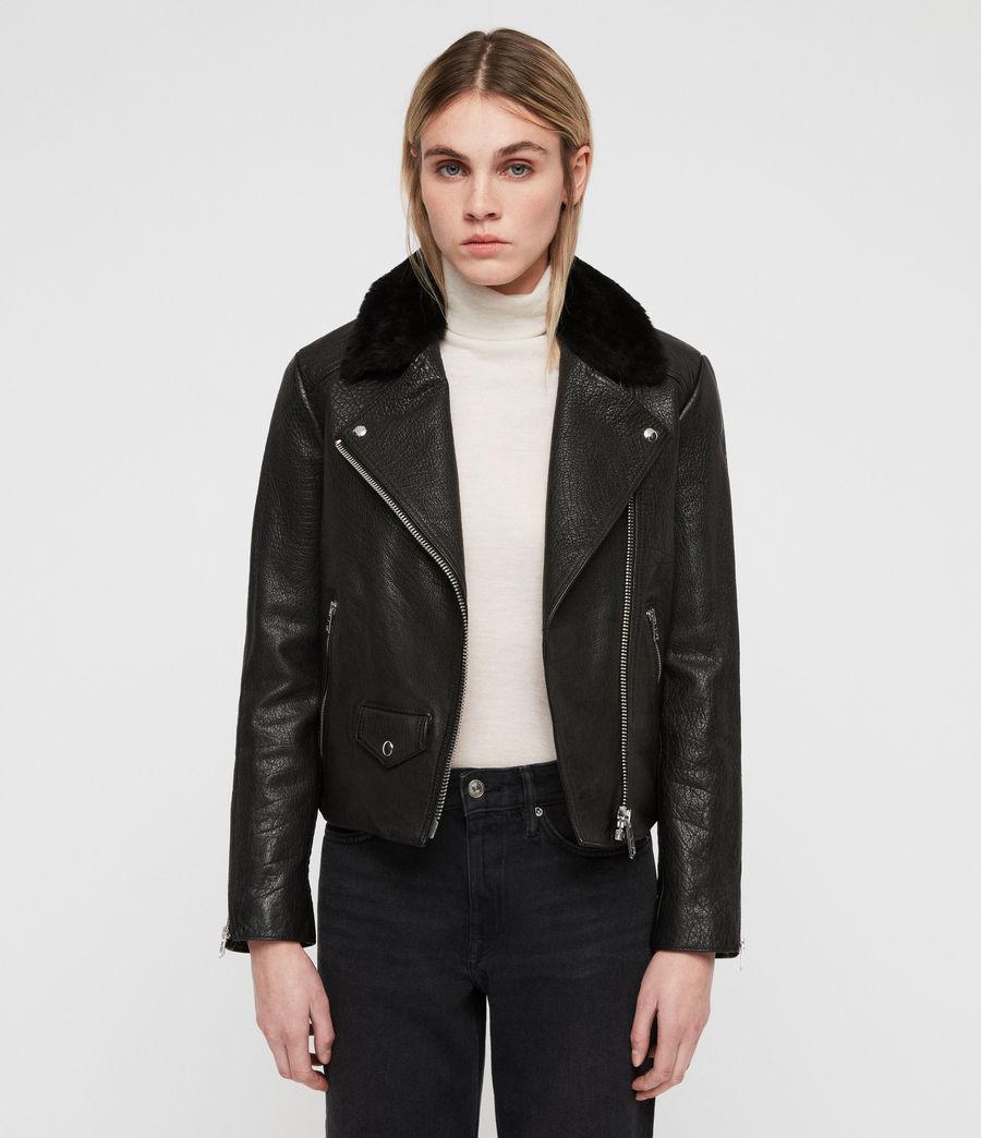Damen Pataya Leather Lux Biker Jacket (black) - Image 1