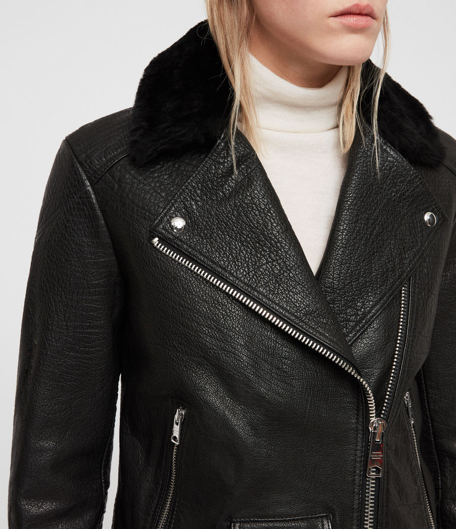 Womens Pataya Leather Lux Biker Jacket (black) - Image 2