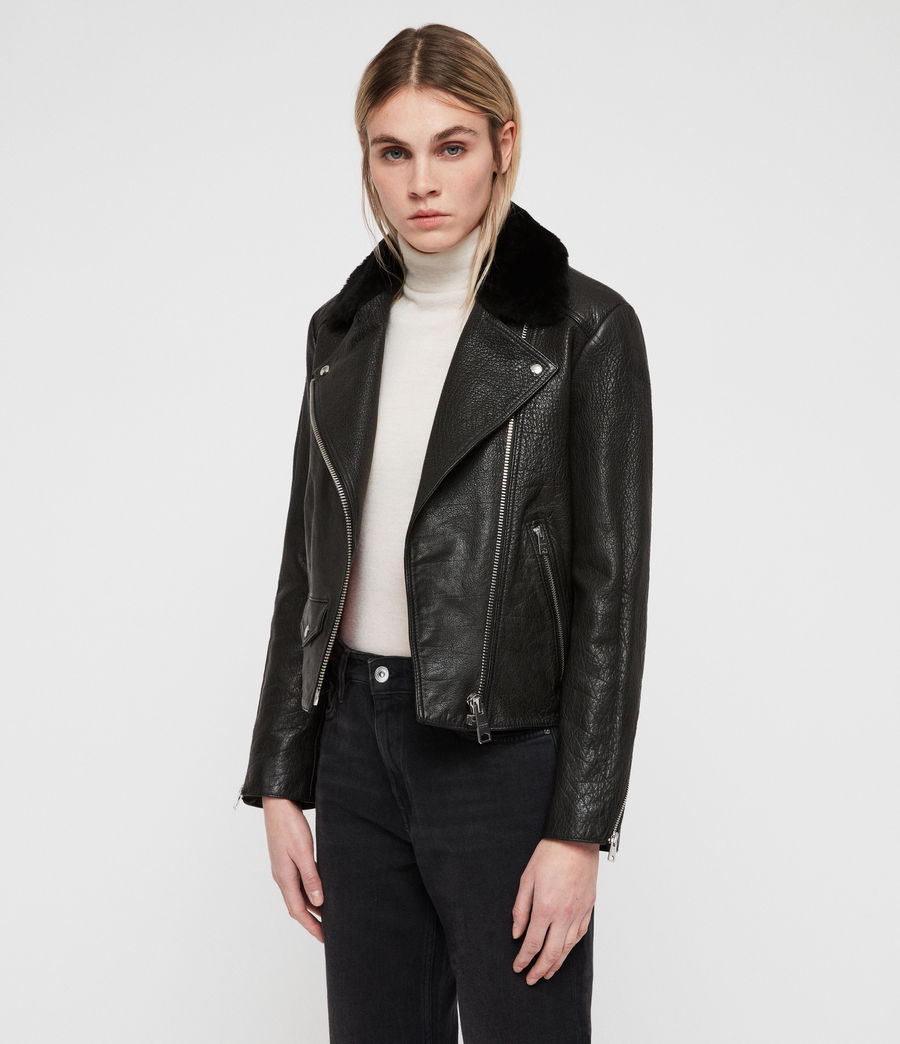 Women's Pataya Leather Lux Biker Jacket (black) - Image 3