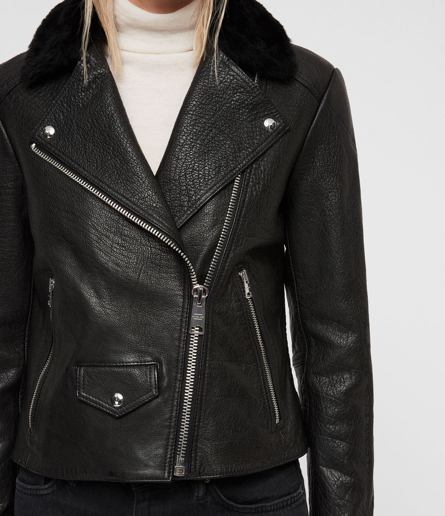 Women's Pataya Leather Lux Biker Jacket (black) - Image 4