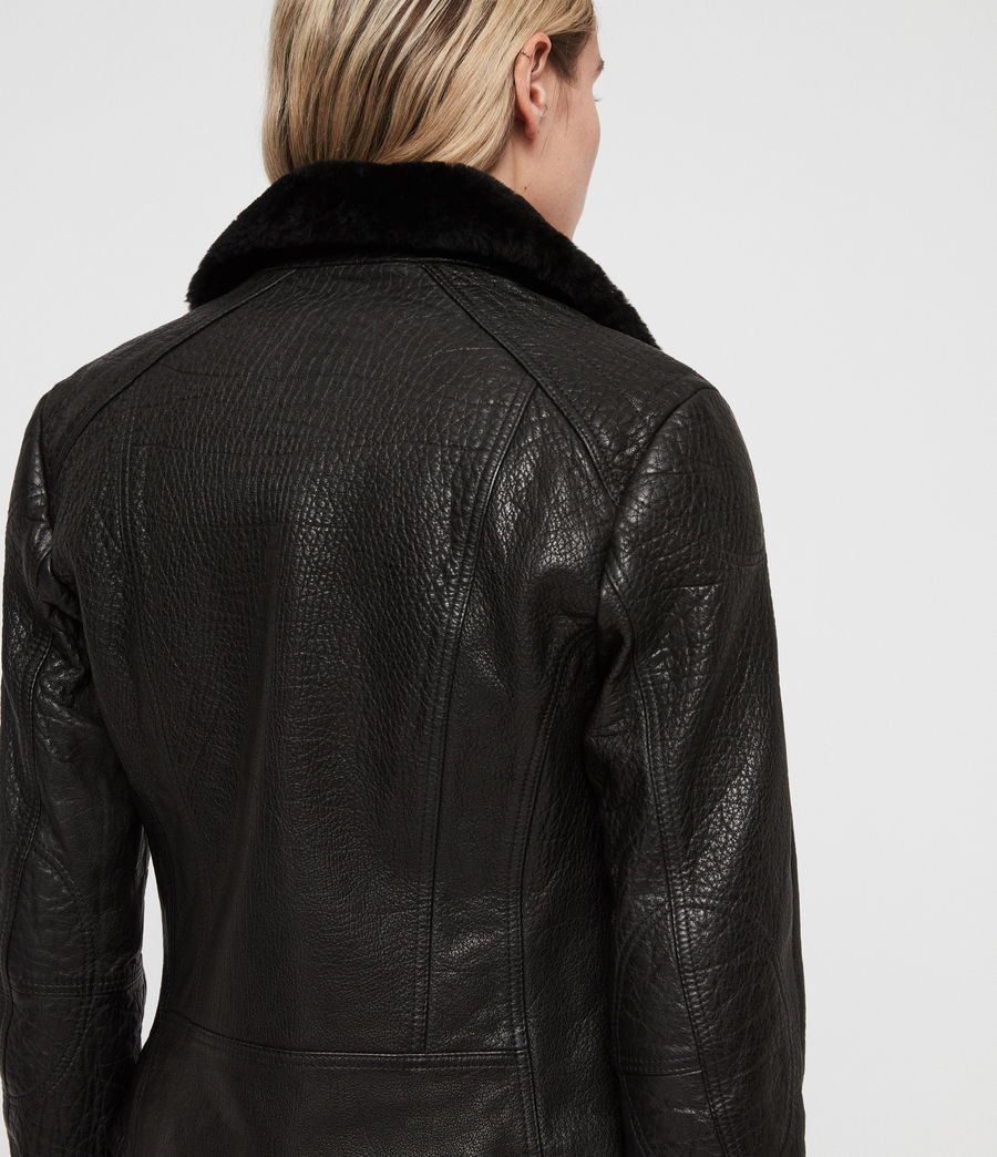 Women's Pataya Leather Lux Biker Jacket (black) - Image 5