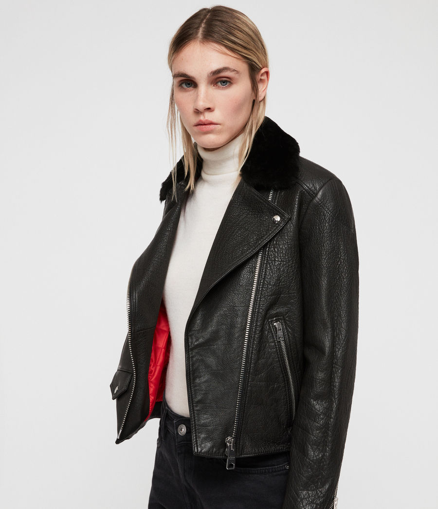 Women's Pataya Leather Lux Biker Jacket (black) - Image 6