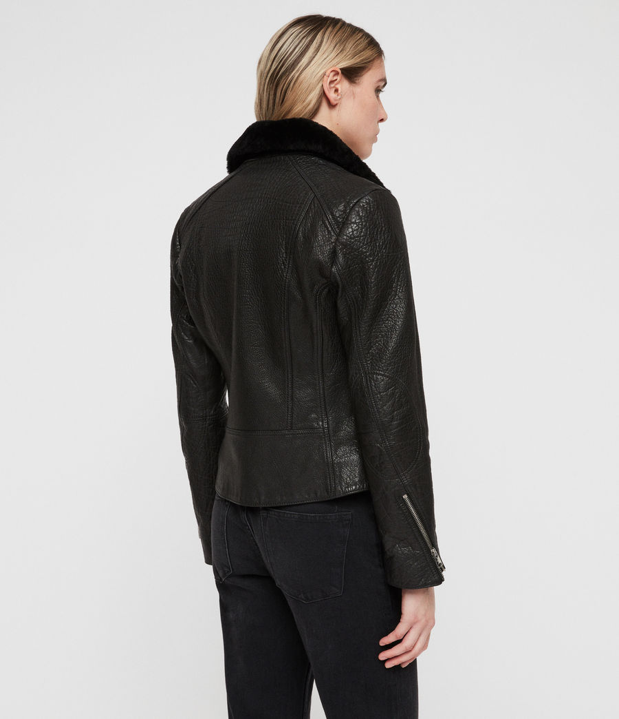 Women's Pataya Leather Lux Biker Jacket (black) - Image 7