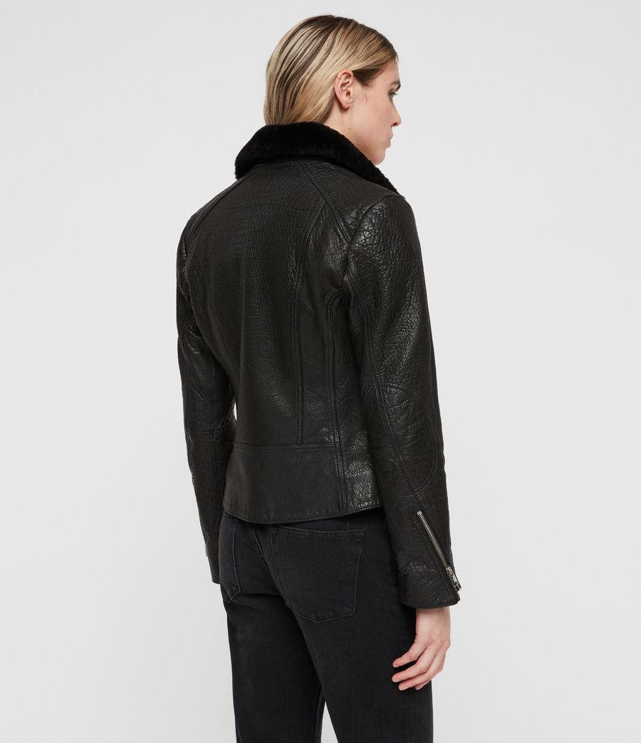 Damen Pataya Leather Lux Biker Jacket (black) - Image 7