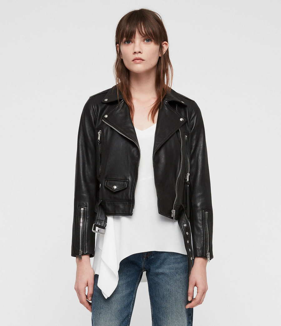 Women's Juno Leather Biker Jacket (black) - Image 1