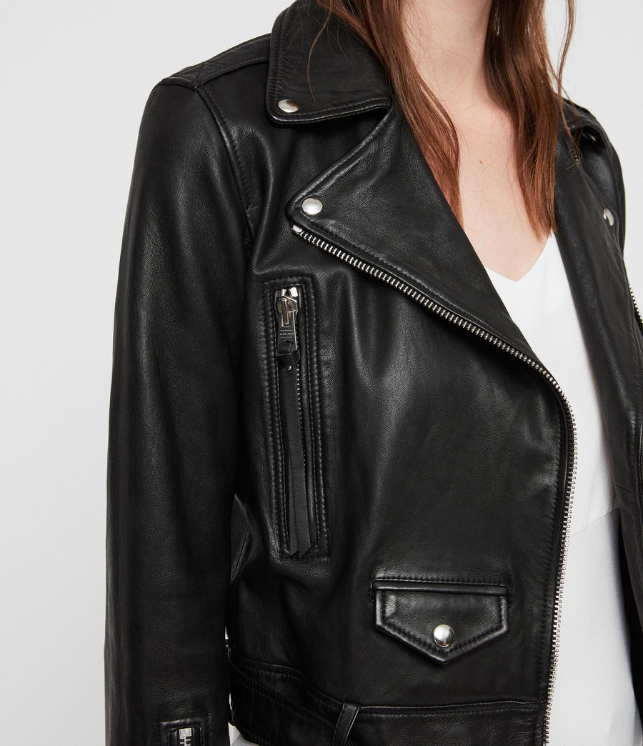 Women's Juno Leather Biker Jacket (black) - Image 2