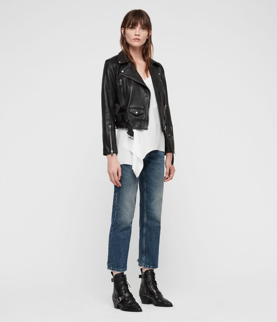 Womens Juno Leather Biker Jacket (black) - Image 3