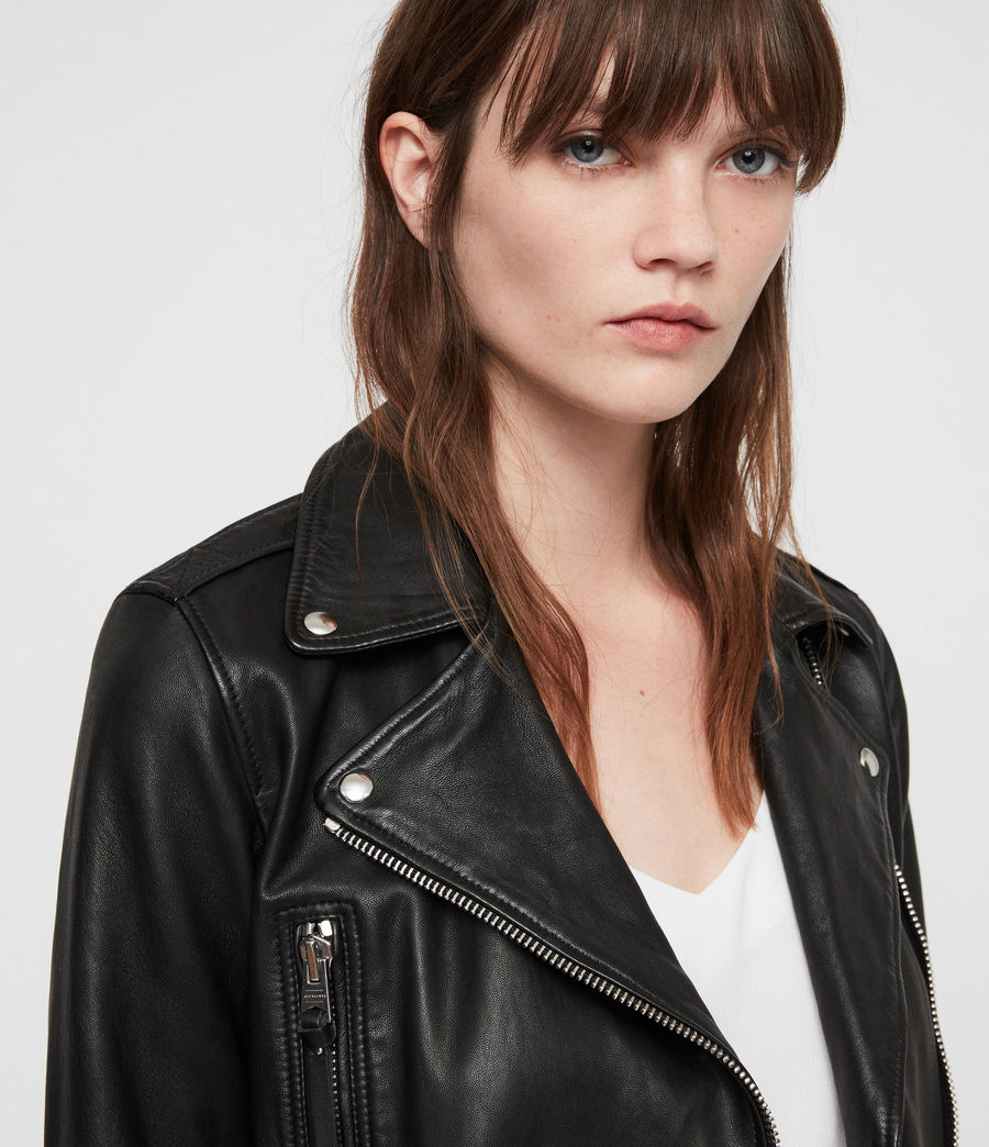 Women's Juno Leather Biker Jacket (black) - Image 4