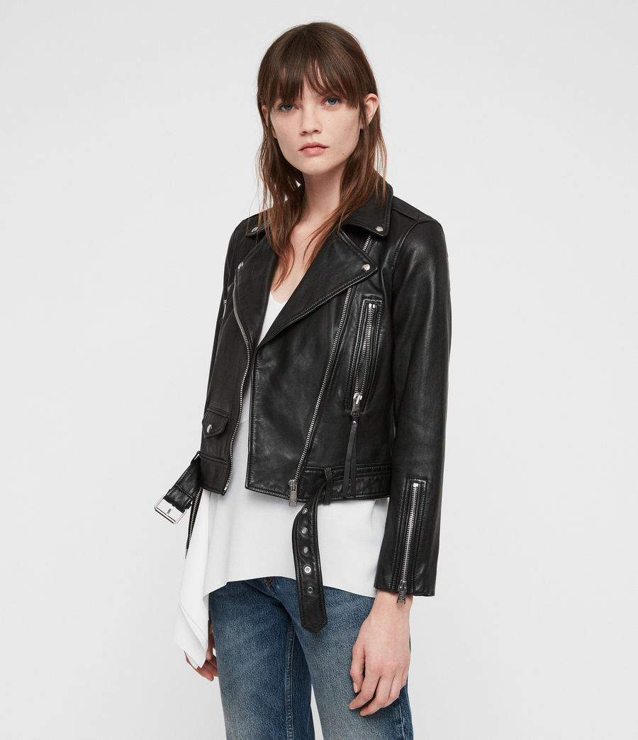 Women's Juno Leather Biker Jacket (black) - Image 5