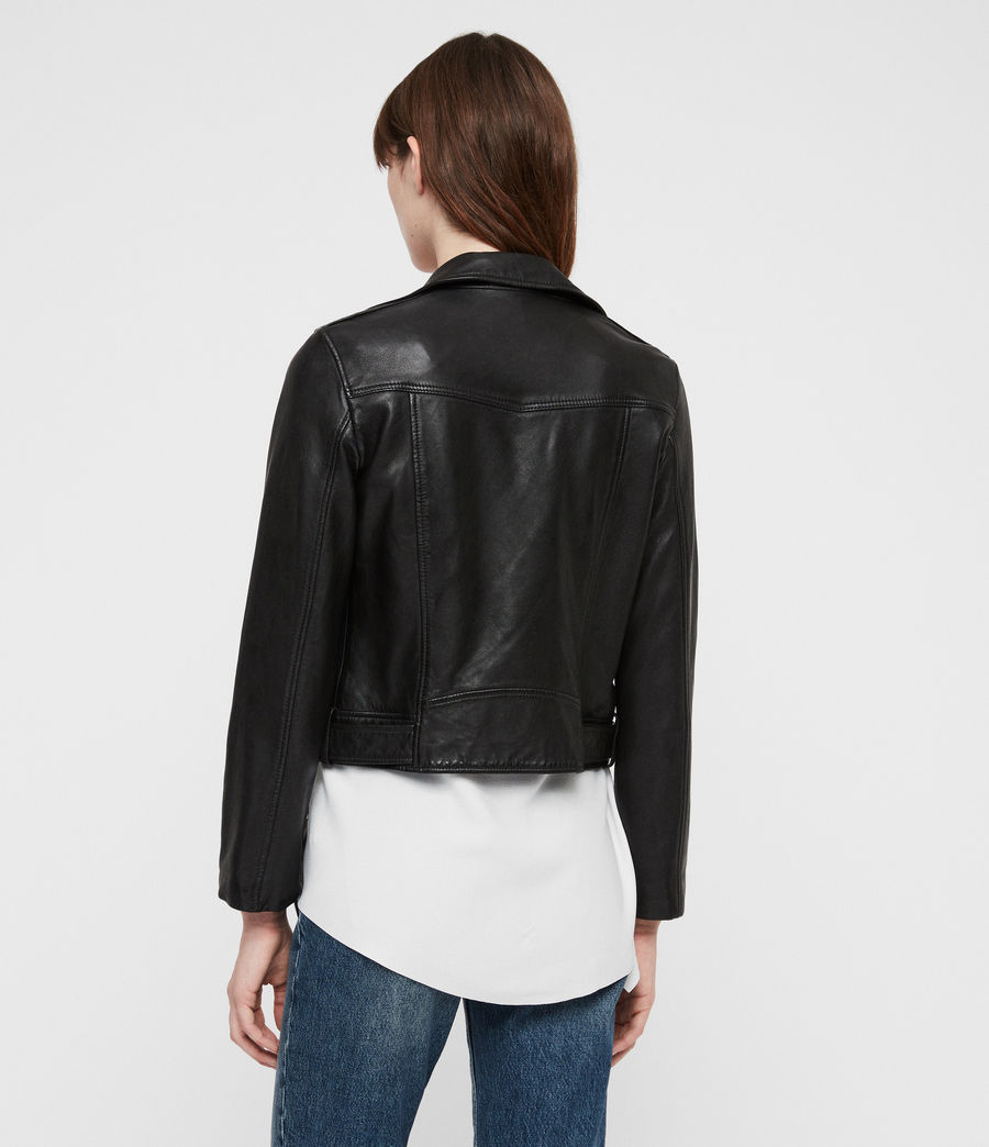 Women's Juno Leather Biker Jacket (black) - Image 6