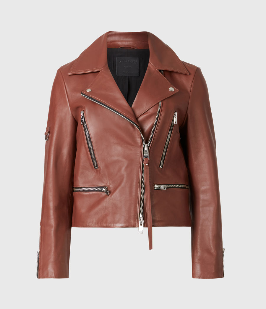 Femmes Wren Leather Biker Jacket (tan_brown) - Image 2