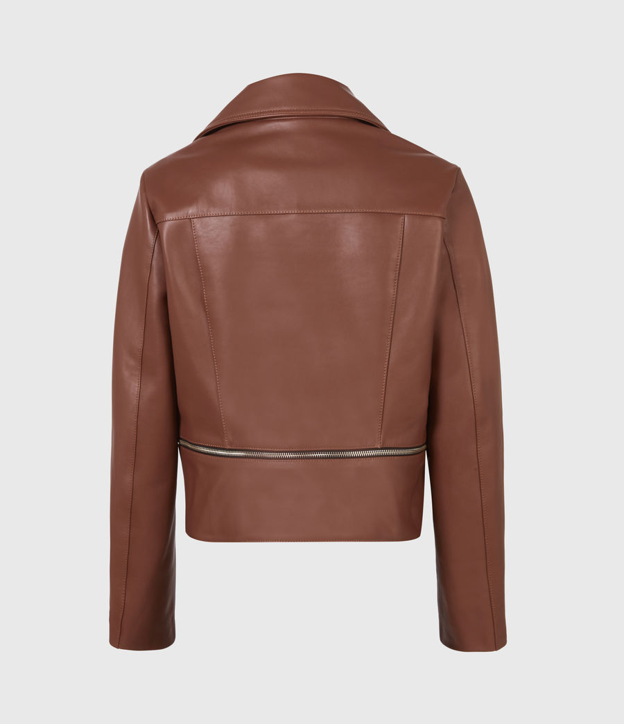 Femmes Wren Leather Biker Jacket (tan_brown) - Image 3
