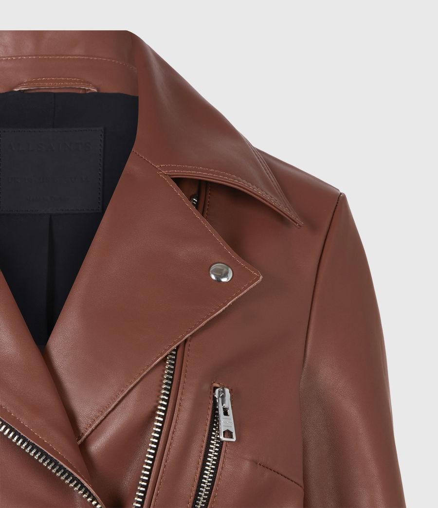 Femmes Wren Leather Biker Jacket (tan_brown) - Image 5