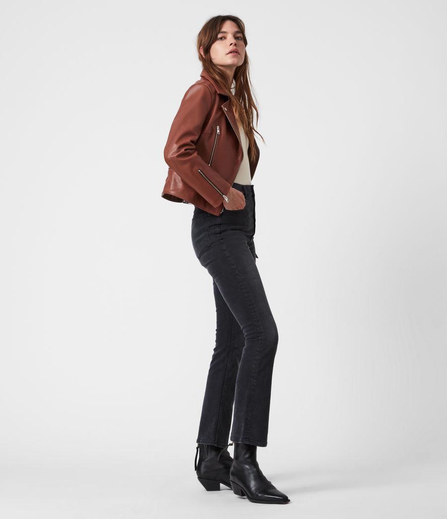 Femmes Wren Leather Biker Jacket (tan_brown) - Image 6